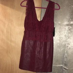 Zara leather low-cut dress